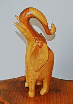 Hand Carved Wood Elephant Large Wood Elephant by Collectitorium