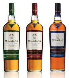 The Macallan (Speyside scotch whisky). Marked differences between each bottle. All very nice.