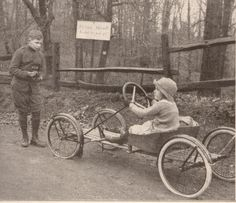 Children with go cart jalopy early hand made car cart Kodak advertising 1921 via Etsy.
