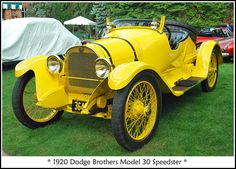 1920 Dodge Brothers Speedster - Though John and Horace Dodge never actually produced a speedster model, someone in 1920 bought one of their cars and modified it to produce this racy 4 cylinder model. Notice the through- the-windshield aftermarket spotlights produced and marketed by car historian Floyd Clymer.