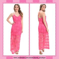 Boutique Pink Crochet Maxi Dress LAST ONEHPNWT Stunning Chic Pretty in Pink crochet maxi dress is ultra sexy dress and will make them drool! It features a cool partial lining, and  crochet mesh overlay. You can wear dressy w/ankle strap heels & trendy clutch or more casual with pair of flats and jean jacket! Hand Wash.  *M 6-8  *Bundle Discounts, Smoke-Free, No Trades Laura's Boutique Dresses Maxi