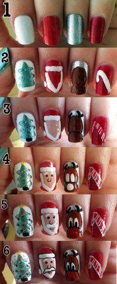 2013 Christmas Tree Nails Design Tutorial,  Green Christmas Tree Nails for 2013 Christmas. Santa Christmas Nails Art Tutorial #Christmas #Santa #Nails www.loveitsomuch.com