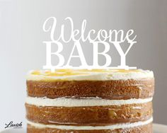 WELCOME BABY acrylic cake topper  Black or by LavishLaserDesign