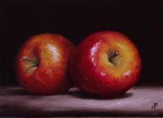 Braeburn Apples, J Palmer Daily painting Original oil still life Art