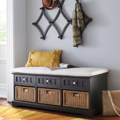 Chelsea Storage Bench - We really need this to replace ours that's falling apart. In black. Already assembled; includes cushion, 3 drawers, 3 baskets! $399.