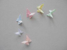 papillon mariage 6 mini decor pastel petit lot rose bleu decoration table invitation ciel ornements guirlandes mobiles fait main assortiment