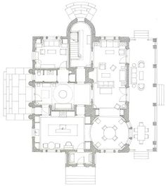 Peter Pennoyer's first floor plan of a house in the country architect design™