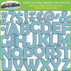 Little Love Bug Alphabet Clip Art with Line Art