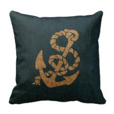 Nautical Anchor and Rope in Deep Sea Blue Throw Pillow
