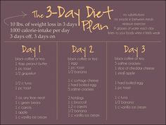 3-Day Diet Plan - Something I would try with 2 snacks also, I don't think it's healthy (for me) to restrict to such low calorie intake and that's drastic weight loss BUT applying things to your own body and goals is what it's all about #weightlossbeforeandafter