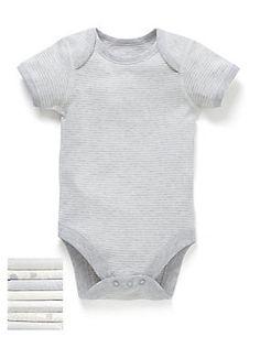 White Mix Seven Pack Unisex Elephant Print Short Sleeved Bodysuit