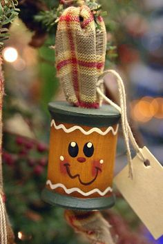 gingerbread - wooden spools made into ornaments