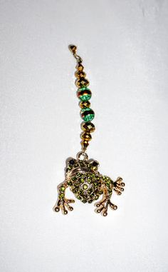 Gold and Green,  Frog Pendant,  Ceiling Fan Pull,  Light Pull,  Frog Fan Pull,  One of a Kind,  Home Decor,   Promo Code by EarthDreamsbySunLi on Etsy