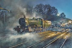 Railway paintings, country sporting paintings & fenland landscapes by professional Peterborough based artist James Green. Signed limited edition prints available, perfect gifts ideas. Train Drawing, Steam Art, Sports Painting, Old Train Station, Train Art, Railway Posters, British Rail, Great Western, Art Uk