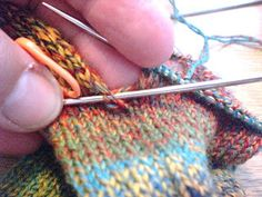 Here we are at last - the sock trick, or, how to avoid holes! This is for a sock using the standard heel flap construction, worked from the. Knitting Help, Knitting Videos, Knitting Stitches, Knitting Socks, Hand Knitting, Knitting Patterns, Stitch Patterns, Crochet Socks, Knit Or Crochet