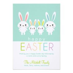 Personalized Easter Bunnies Greeting Card Personalized Invites
