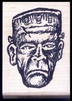 FRANKENSTEIN RUBBER STAMP Horror Movie Portrait Rubber Stamp Deep Red Rubber NEW