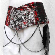 http://www.etsy.com/listing/169331069/unique-corset-belt-graphics-hip-belt?ref=shop_home_active  Unique corset belt graphics hip belt with pockets goth by LiziRose, $96.50