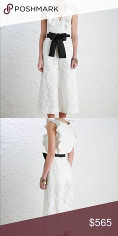 Sold💥Zimmerman Winsome Flounce Jumpsuit SZ 1 NWOT. SZ 1. The Winsome Flounce Jumpsuit, in Pearl linen with fluffy vine embroidery. Deep V neckline with flounced frills detail and flared cropped pant. Comes with a separate black cotton sateen self tie belt. Fully lined bodice, partially lined pant.  Model is 5'10, she wears 0. Zimmermann Dresses