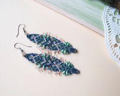 Micro macrame earrings bohemian feathers free by MartaJewelry