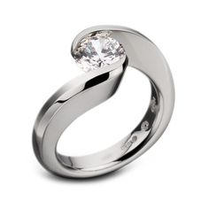 Round Brilliant Cut Tension-Set Swirl Ring by Steven Kretchmer
