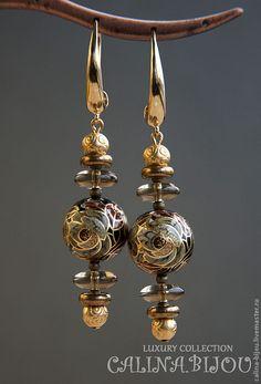 """Купить Винтажные серьги с бусинами Тенша """"Пагода"""" - коричневый, чёрный, раухтопаз, серьги в винтажном стиле"""