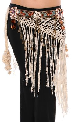 Tribal Belly Dance Crochet Belt with Shells, Chains, and Coins