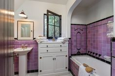 purple Bathroom Decor Storybook house with vintage - bathroomdecor Art Deco Tiles, Art Deco Bathroom, Diy Bathroom Decor, Bathroom Styling, Bathroom Furniture, Small Bathroom, Bathroom Ideas, Bath Ideas, Modern Bathroom