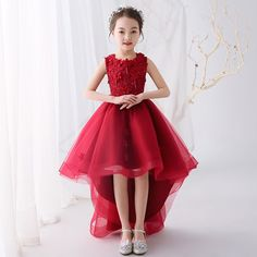 off the shoulder pattern for a girl Red Dresses For Kids, Red Flower Girl Dresses, Lace Flower Girls, Girls Dresses, Baby Girl Frocks, Frocks For Girls, Red High Low Dress, Dress Anak, Kids Gown