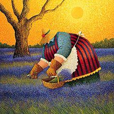 Lowell Herrero,Лоуэлл Эрреро(b.1941 American)  -  ''Gracefull Harvest II'' Acrylic on canvas, 48 x 60'' ia