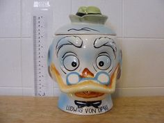 "RARE 1961 Walt Disney Productions ""Ludwig Von Drake"" Cookie Jar with Lid WD 6 