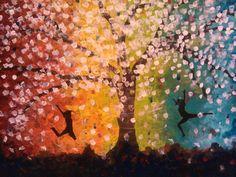 In dit kunstwerk zie je twee mensen die vrolijk rond springen bij een boom. Deze boom staat in bloei en heeft allemaal kleine roze bloemetjes aan zich hangen. Op de achtergrond zie je allemaal vrolijke, lichte kleuren. De kleuren hebben dezelfde kleur als de vlag die staat voor homoseksualiteit. Dit kunstwerk staat voor vrolijkheid, blijheid, vrijheid en veiligheid.