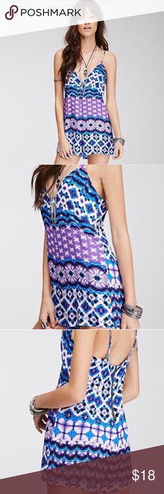 NEW Forever 21 Abstract Print Romper Brand new with tag! Beautiful abstract print low-cut romper jumpsuit from Forever 21. Size S. Gorgeous blue, purple & white colored pattern. Soft woven fabric (100% rayon) with adjustable cami straps. Zipper on the back. Never been worn since it doesn't fit me. Super cute though and perfect for spring & summer! Originally $19.90 at F21. If you have any questions let me know :) I ship out next day ❤ Forever 21 Pants Jumpsuits & Rompers