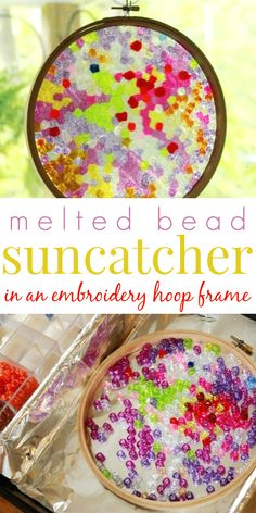 Framed Melted Beads Suncatchers to Gift and Display Make Plastic Bead Suncatchers in an Embroidery Hoop Frame - This works so well!Make Plastic Bead Suncatchers in an Embroidery Hoop Frame - This works so well! Crafts To Do, Bead Crafts, Diy Crafts For Kids, Projects For Kids, Art For Kids, Craft Projects, Stick Crafts, Resin Crafts, Creative Crafts