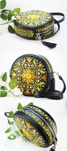 Leather bag and embroidery Large Teal Purse Embroidered Leather Bag Embroidered Bag Round leather handbag Black bag #leatherbag #tealpurse #embroidery