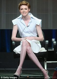 Karen Gillan does Basic Instinct impression for ABC panel chat | Daily Mail Online
