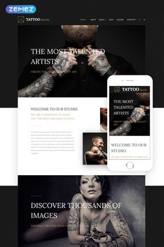 Tattoo Joomla Template - Joomla Templates - Ideas of Joomla Templates - Use this Tattoo Joomla Template to boost the online presence of your tattoo salon and obtain new customers. It is responsive and mobile-friendly. Website Themes, Website Designs, Tattoo Website, Tattoo Salon, Adobe Muse, Joomla Themes, Web Design, Exclusive Homes, Joomla Templates