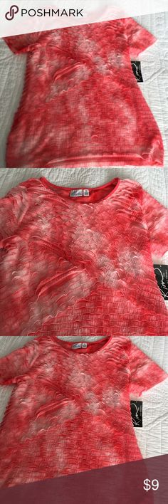 Kim Rogers Coral Ruffle Top NWT New with tags from belk. Kim Rogers Coral Ruffle Top. Size petite medium. Take it on your cruise this summer, or use it as a career top. Kim Rogers Tops Blouses