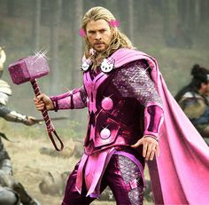 THE AVENGERS Unexpected Hello Kitty Outfits - Thor actually looks good in pink