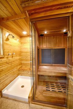 The star of Hope Cottage is the full bathroom that has a shower, toilet, and a gorgeous FAR infrared sauna engulfed in glass and wood. Have you ever seen a tiny house that has its own sauna? Sauna Shower, Bathroom Tub Shower, Tiny House Bathroom, Small Bathroom, Bathroom Ideas, Basement Bathroom, Tiny Bathrooms, Basement Sauna, Bathroom Layout