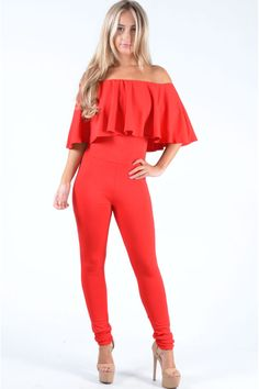 Pop Couture - Brooklin Off The Shoulder Ruffle Jumpsuit In Red,