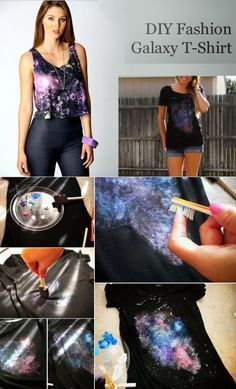 T-Shirt Makeovers - DIY Fashion Galaxy T-Shirt - Awesome Way to Upcycle Tees - Cool No Sew Tshirt Cutting Tutorials, Simple Summer Cutouts, How To Make Halter Tops and T-Shirt Dresses. Easy Tutorials and Instructions for Teens and Adults http:diyprojectsforteens.com/diy-tshirt-makeovers