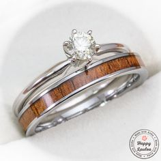 14k White Gold Solitaire .25CT Diamond Engagement Ring Set with Petite 3mm Width Tungsten Carbide Koa Wood Ring