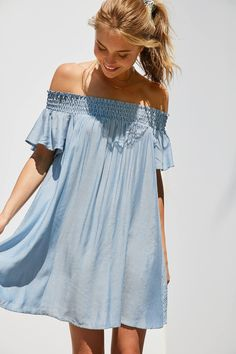 Slide View: 1: Cooperative Striped Off-The-Shoulder Flutter Sleeve Dress