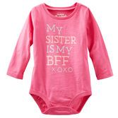 She'll be able to tell the world just how much she loves her sister in this pretty pink bodysuit.