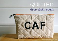 Q is for Quilted Drop Cloth Pouch - Thats My Letter