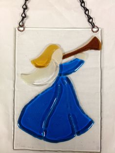 Fused Glass Angel with Trumpet (Tack Fused)