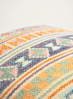 Pastels / cream Chiang Mai hand- stitched tribal cotton pillow cover ~ Little Attic