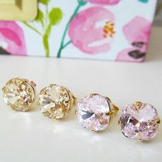 The Petite Square Studs in Pink Frosting & Golden Silk make...