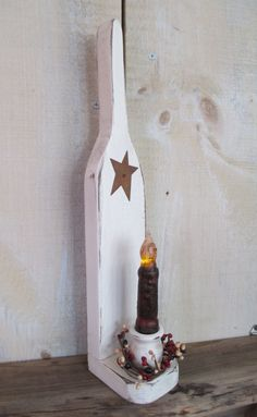 Primitive Candle Holder, White Wash - Candle and Wreath